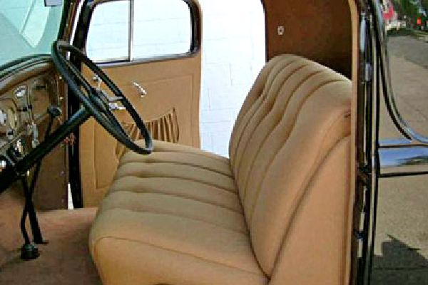 Antique car interior restored by Barry Seat Covers.