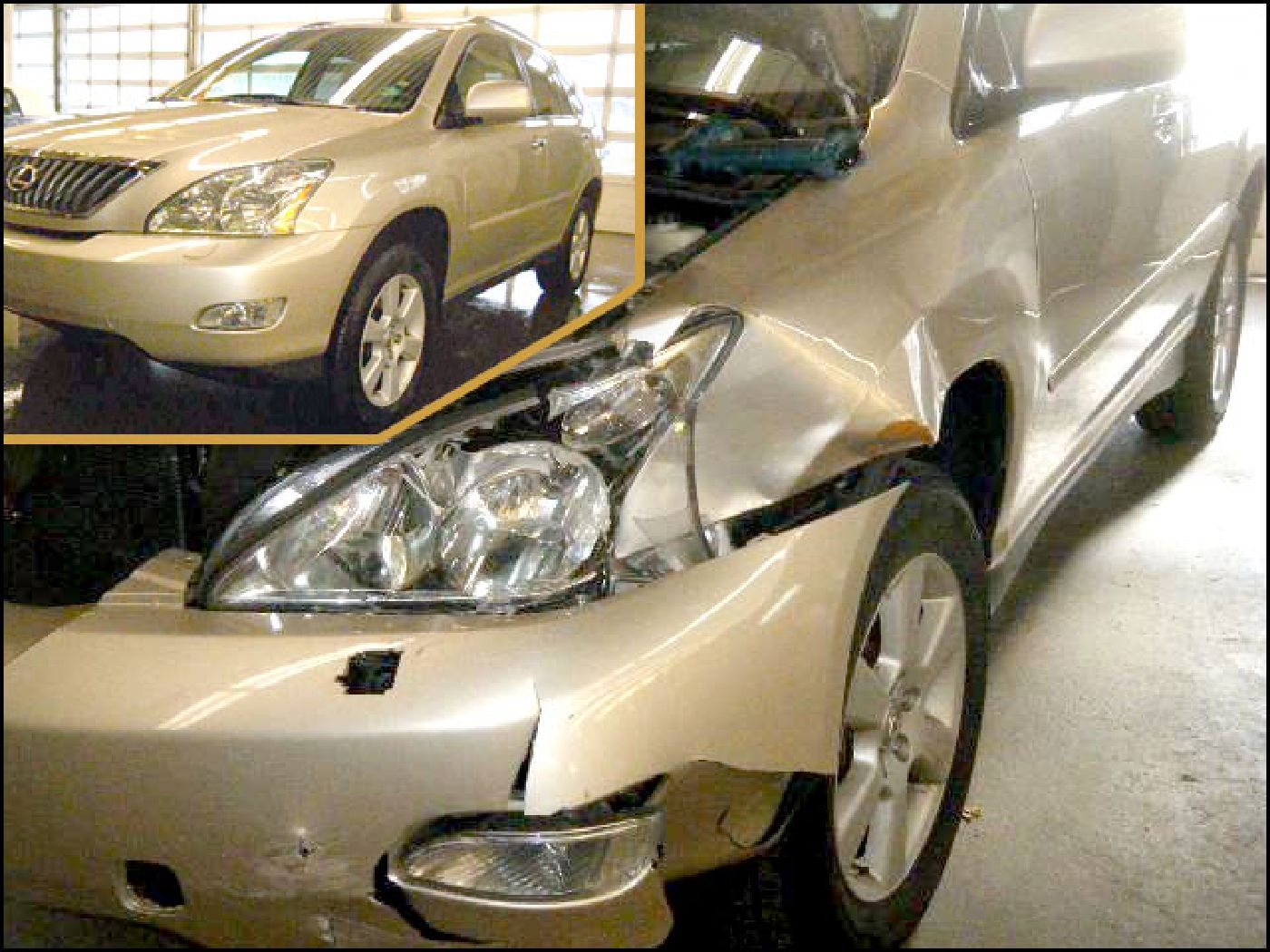 Auto body collision repair, before and after.