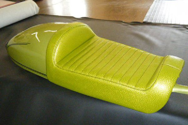 Motorcycle seat recoverd by Barry Seat