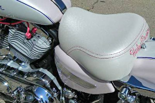 Motorcycle seat upolstered by Barry